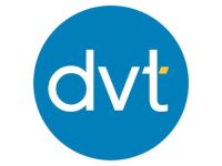The logo for DVT